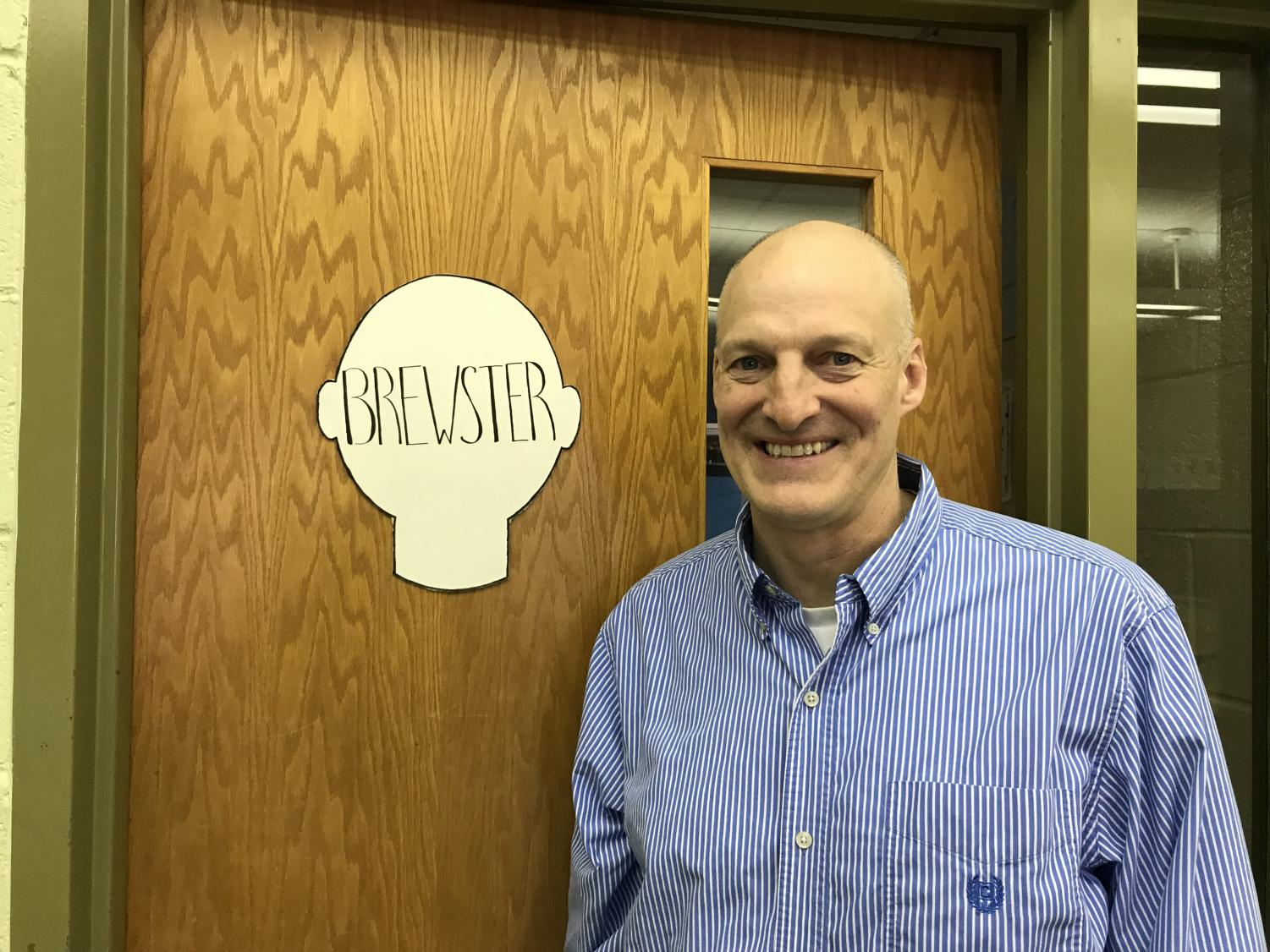 KNIGHTS IN THE CASTLE- Mr. Phil Brewster outside of his classroom in the math department at North Penn High School.