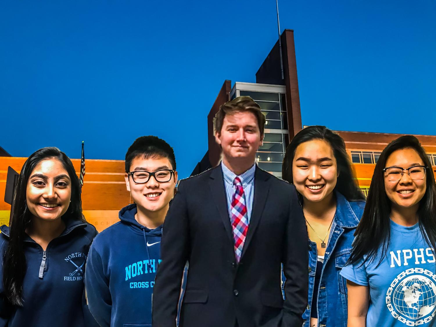 SGA- Meet the Student Government Officers for the 2018-2019 school year! (left to right: Simran Rathod, David Baik, Billy Wermuth, Katie Park, Shirin Chong)