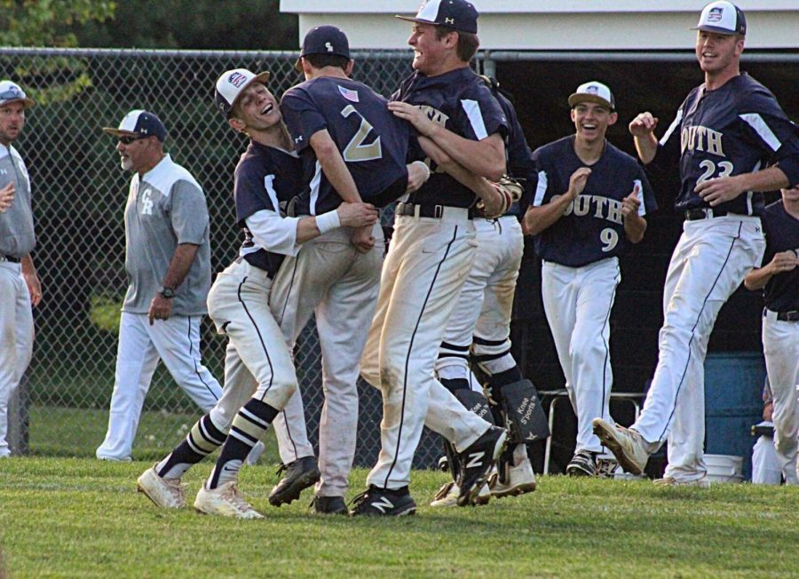 BASEBALL+-+The+Council+Rock+South+Hawks+celebrate+after+their+3-2+win+over+the+North+Penn+Knights.