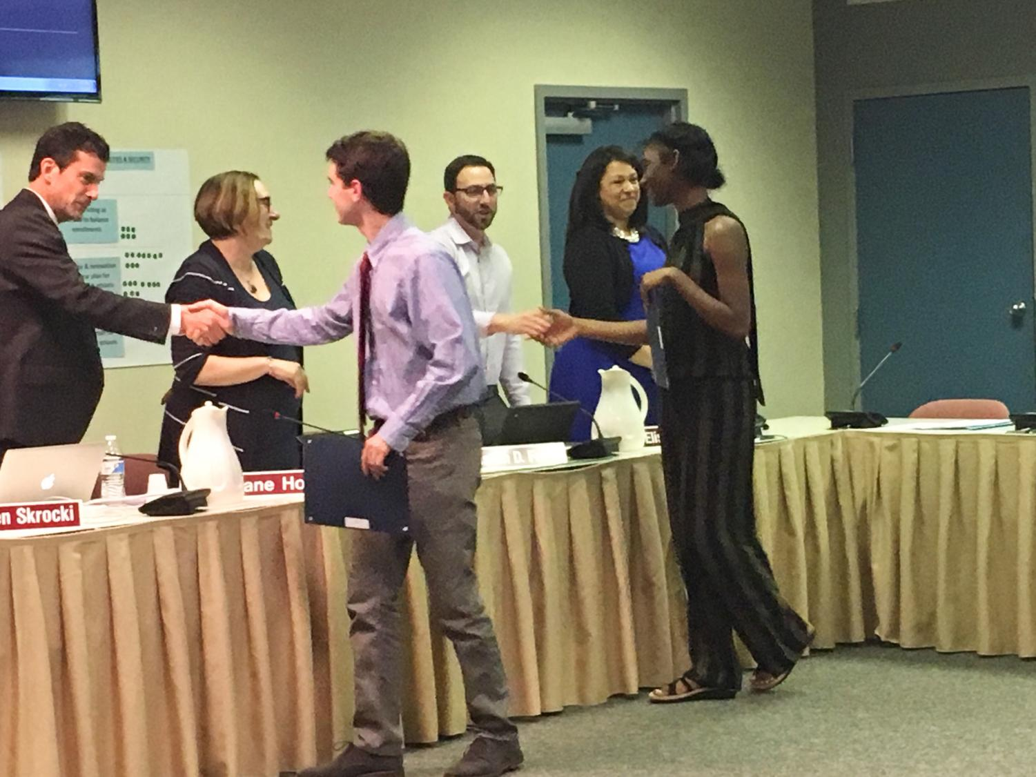 NPSD: Members of the NPHS Chamber Singers are recognized by the Board