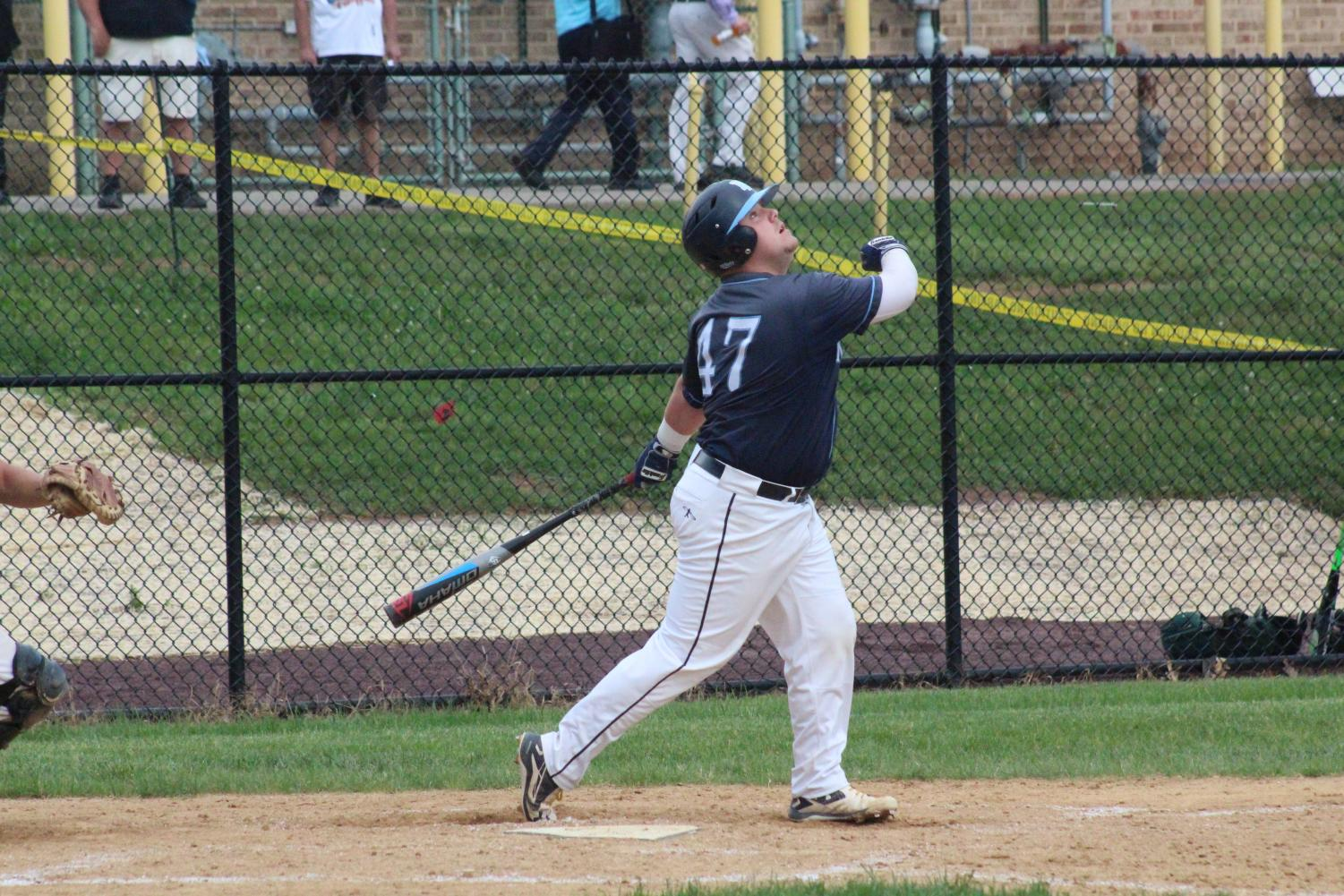 BASEBALL- Senior Hunter Hamlin collects two hits in the second half of the Knights vs Pennridge game.