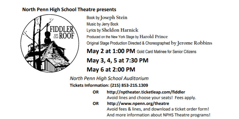 Dont miss out on this years spring musical, Fiddler on the Roof!