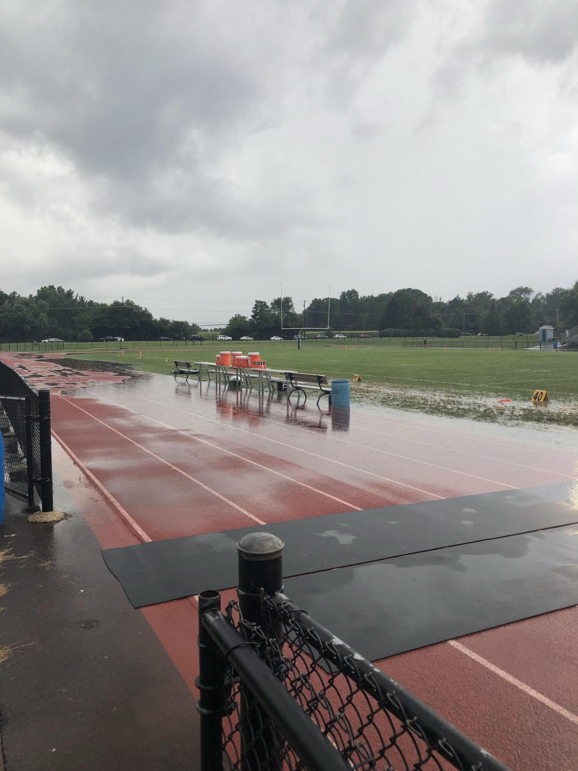 Mother Nature Wins: A rain soaked Crawford Stadium just after heavy rains soaked the Towamencin area on Friday evening,