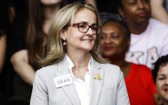 State Rep. Madeleine Dean, D-Montgomery, during a campaign rally for Pennsylvania candidates in Philadelphia, Friday, Sept. 21, 2018. (AP Photo/Matt Rourke)