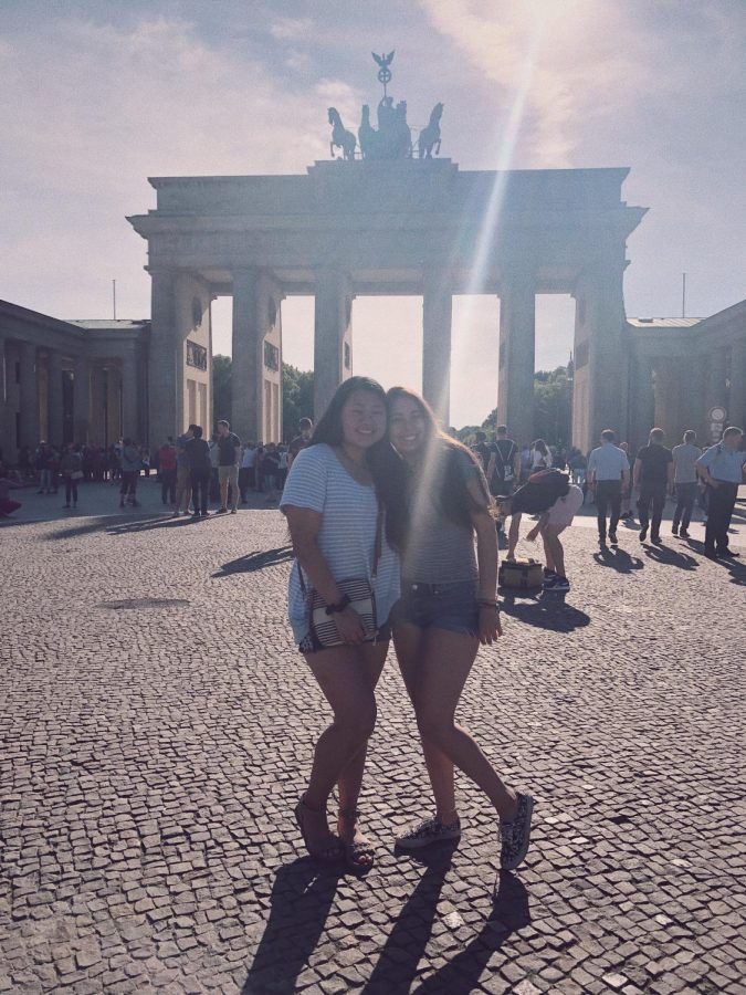 Ashley Han (left) and a friend at the Brandenburg gate in Berlin, Germany.