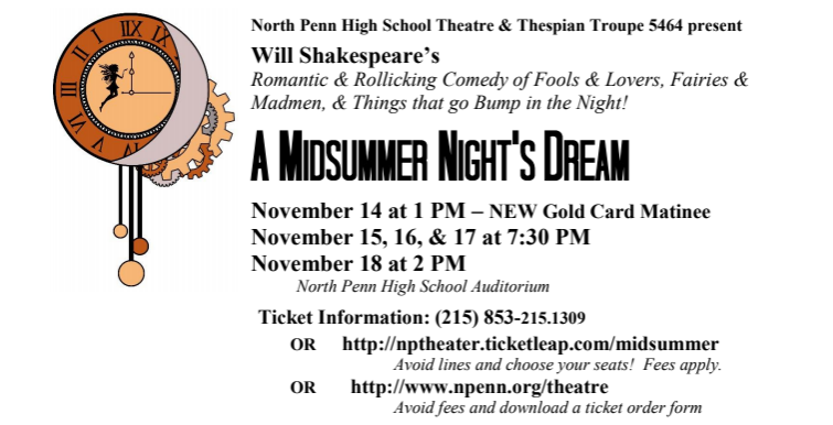 North Penn Theatre presents A Midsummer Nights Dream