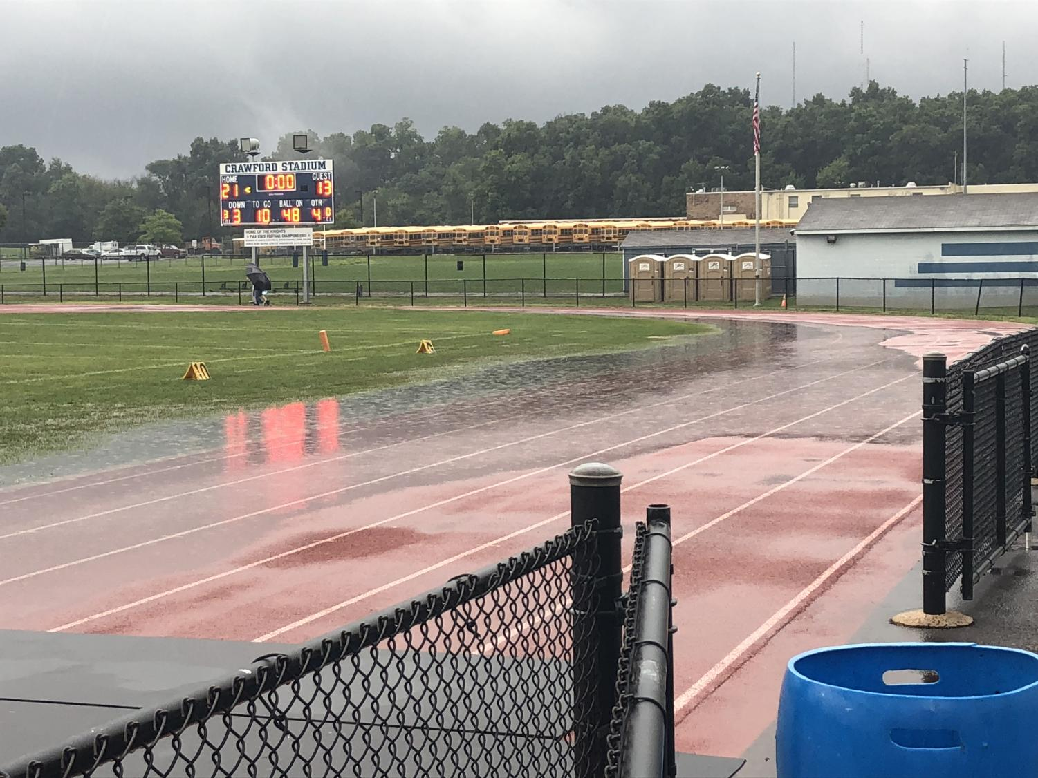 North Penn High School's Crawford Stadium on a Friday night in September, 2018. The football game scheduled for that night was moved to the NPHS turf field the next day, due to unplayable conditions in Crawford Stadium. In the background is a familiar row or portable toilets brought in for weekly football games. The stadium is currently under review for potential renovations.