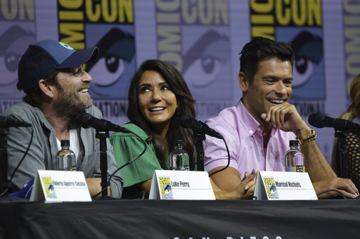 Luke Perry, from left, Marisol Nichols, and Mark Consuelos participate in the