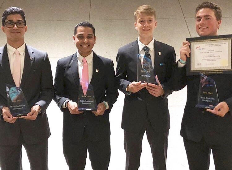 National winner Neelay Velingker (far left) stands proud with other North Penn winners Tejas Priyadarshi (second from the left), Jared Huzar (third from the left), and Chris Seiler (far right).