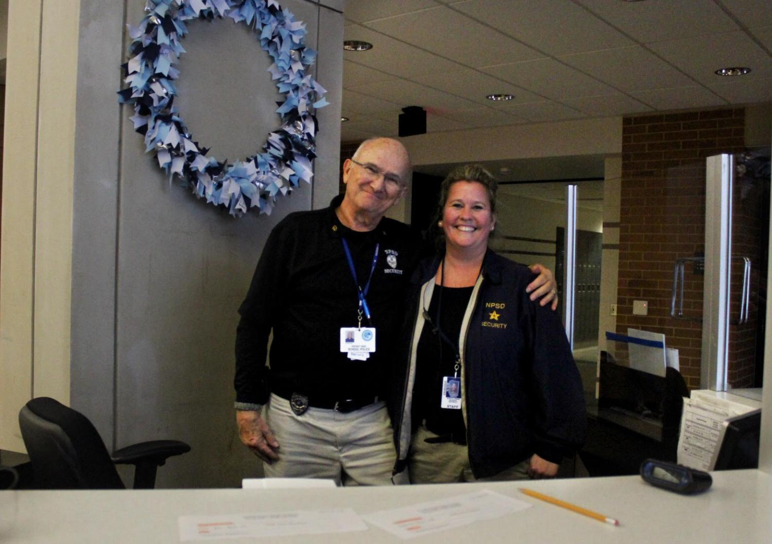 Genneen Groth, new NPHS security guard pauses for a picture with Walt Staheleck at NPHS. Groth joined the NPHS security team in October.