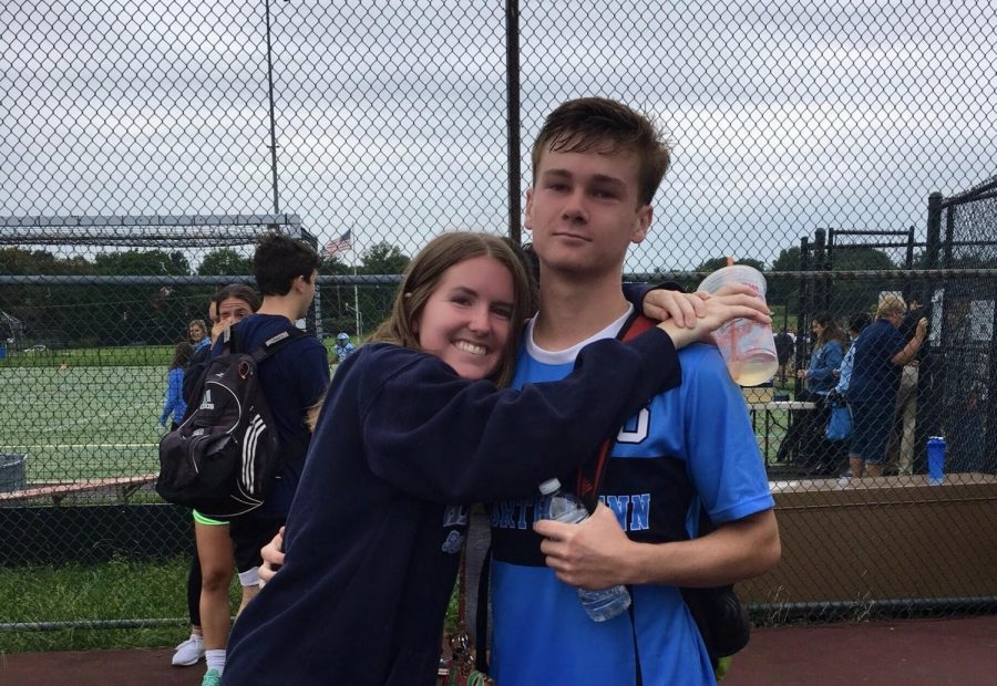Liv+and+Aidan+supporting+each+other+at+their+North+Penn+soccer+games.+