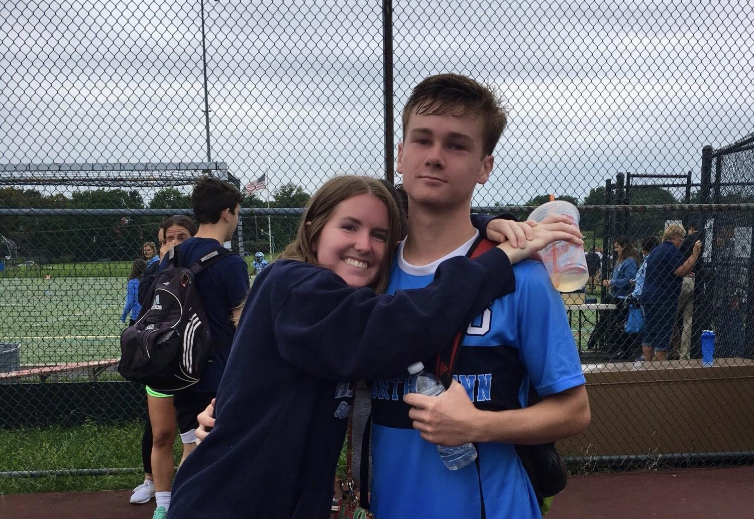 Liv and Aidan supporting each other at their North Penn soccer games.