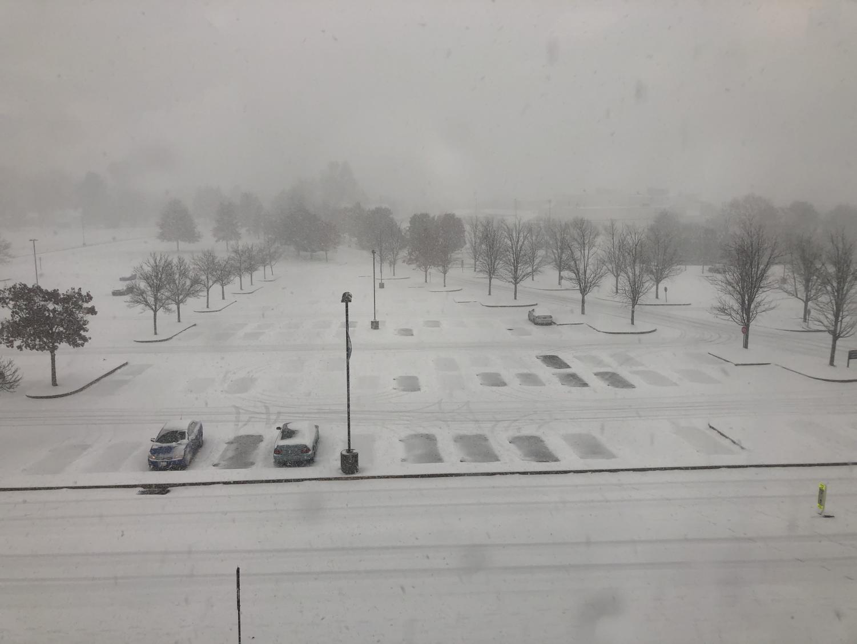 SNOWVEMBER: Heavy snow blankets the NPHS parking lot on Thursday, November 15, 2018.