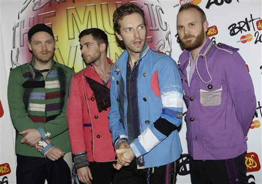 British band Coldplay pose backstage at the Brit Awards 2009 at Earls Court exhibition centre in London, England, Wednesday, Feb. 18, 2009. (AP Photo/Joel Ryan)