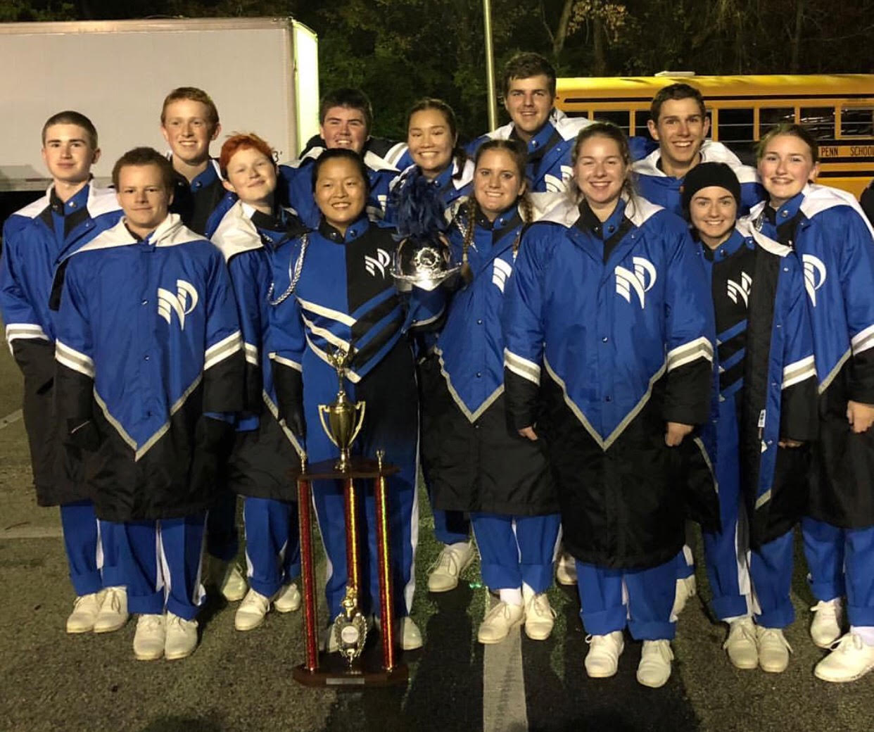 The Marching Knights pose for a picture after winning the state championship.