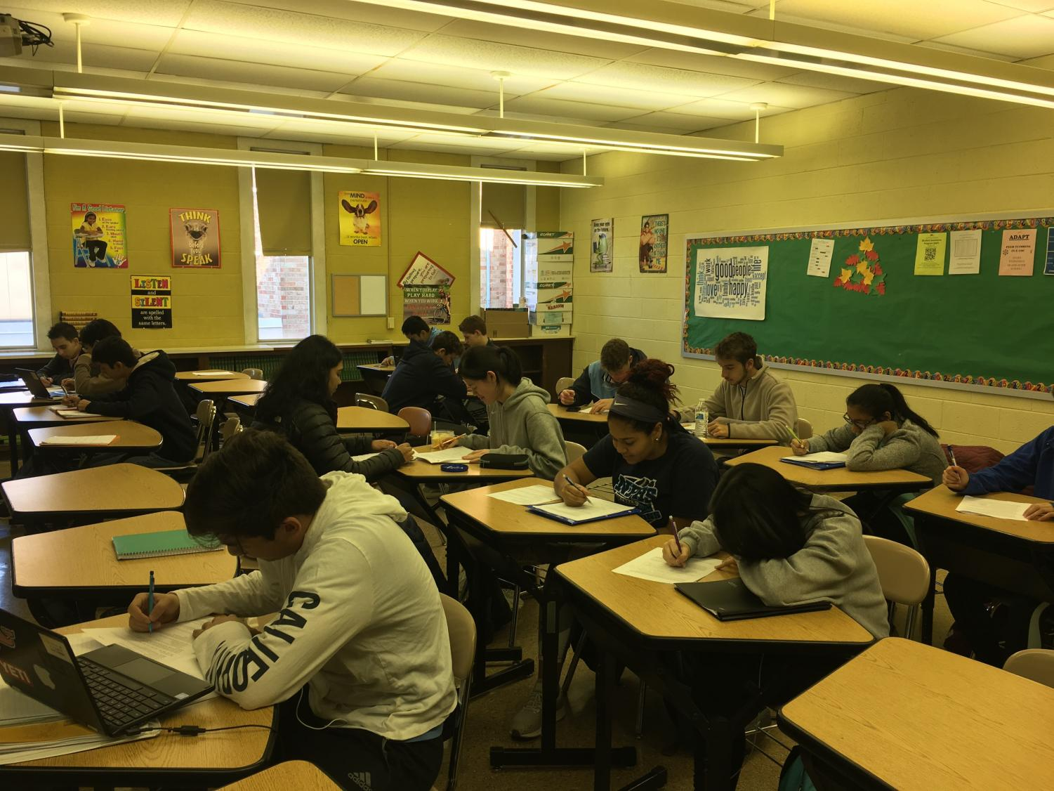 MATH COUNTS: Students in Mr. Chris Cummiskey's AP Statistics course at North Penn High School work during a recent class period. Many NPHS students thrive in advanced level courses, but the time and effort is certainly a challenge.