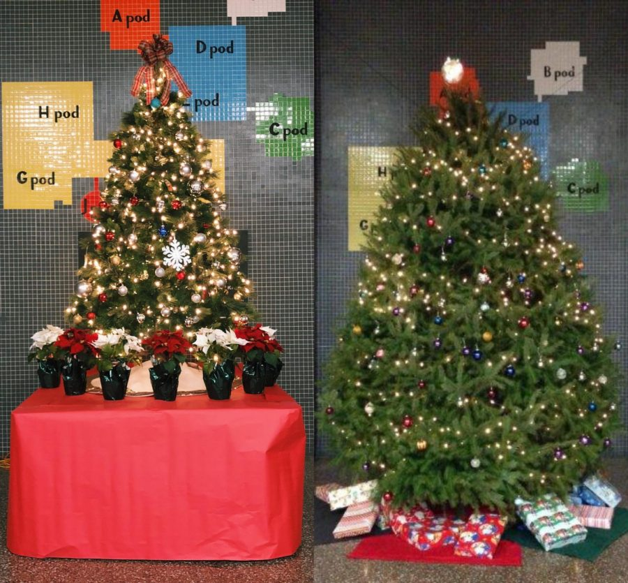 This+picture+shows+a+side-by-side+comparison+of+the+current+Christmas+tree+in+the+NPHS+lobby+%28left%29%2C+and+the+tree+from+previous+years+%28right%29.