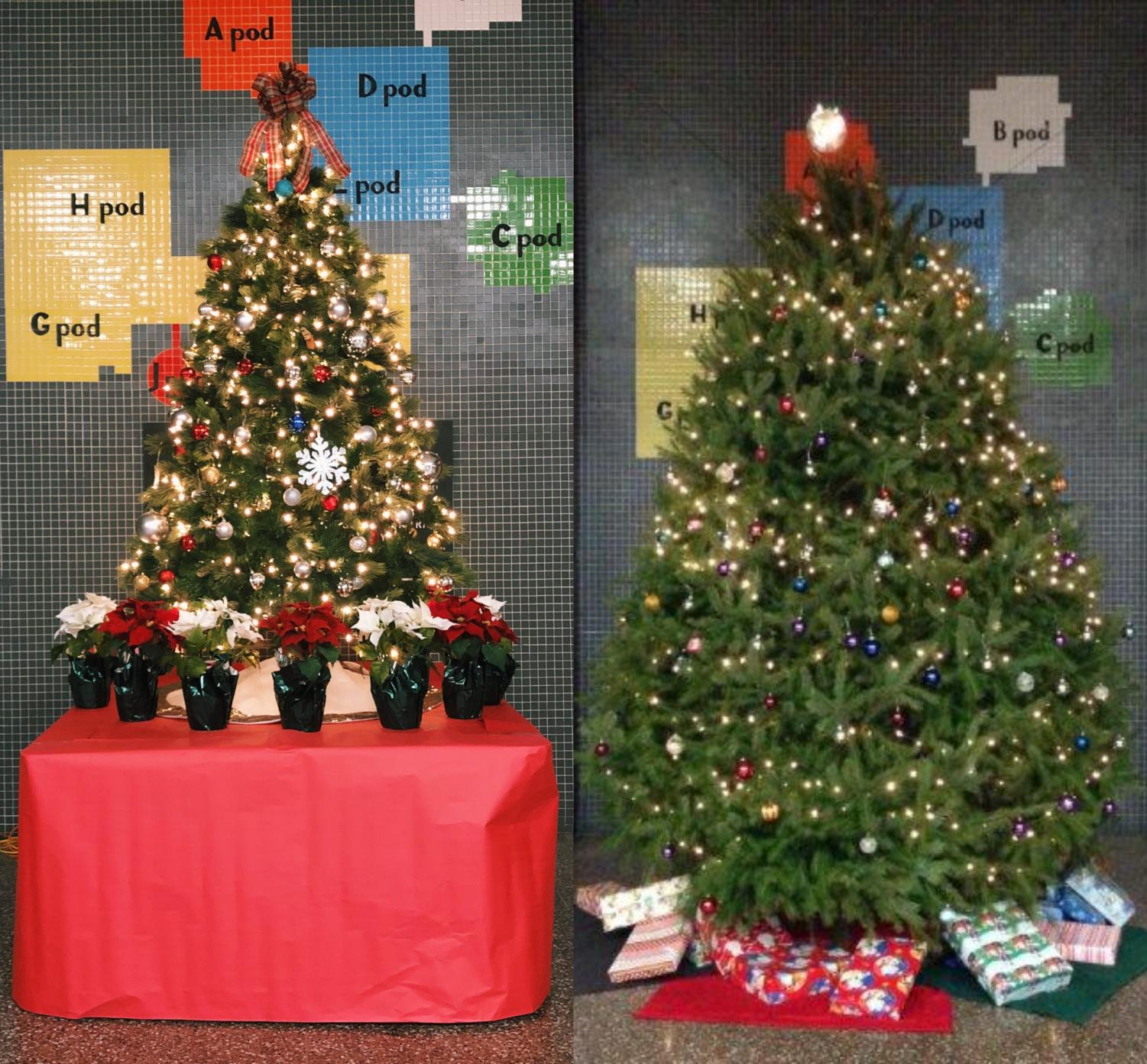 This picture shows a side-by-side comparison of the current Christmas tree in the NPHS lobby (left), and the tree from previous years (right).