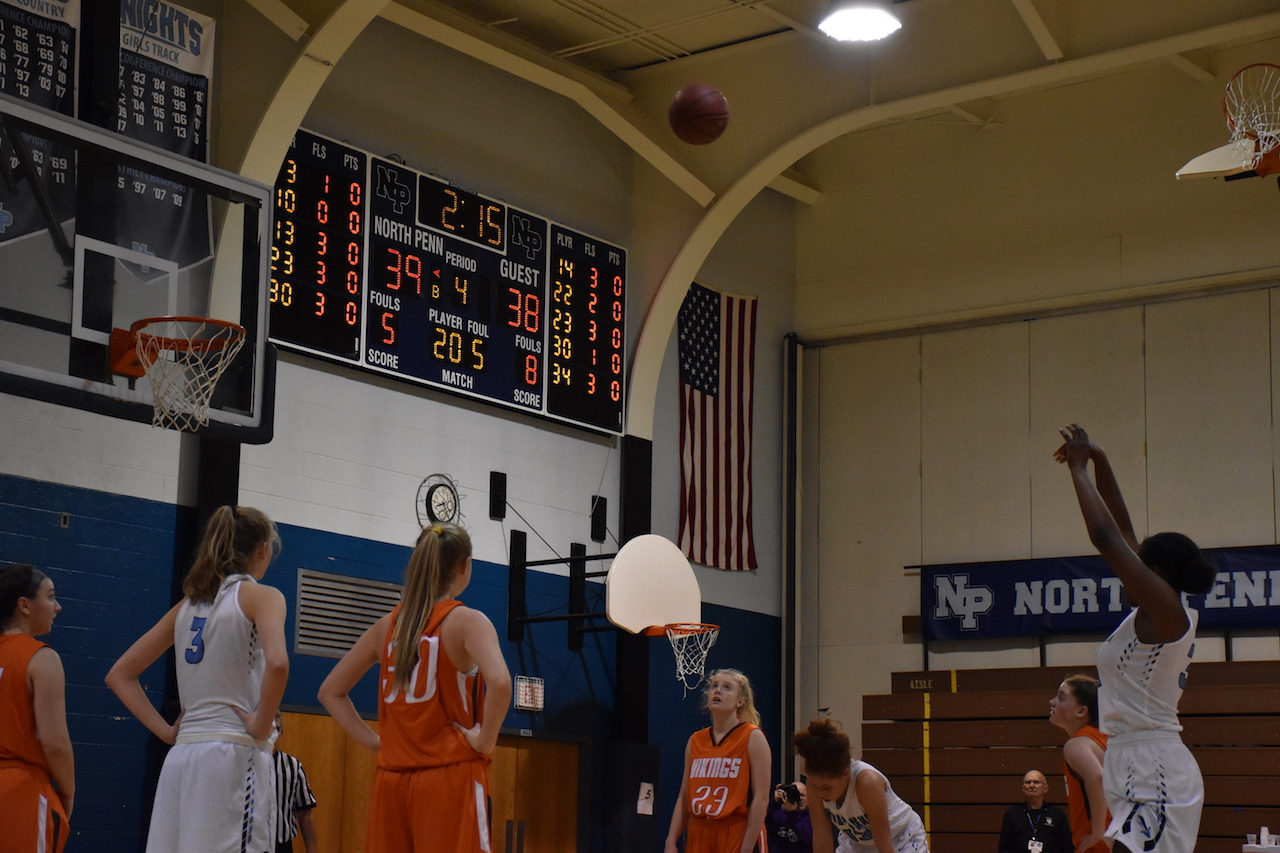 Val McGriff attempts a free throw on her way to an 11-point performance
