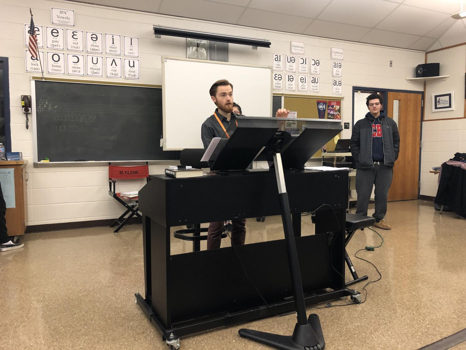 Mr. Michael Trycieckyj conducting during one of the four chorus classes he teaches everyday in his placement at North Penn.