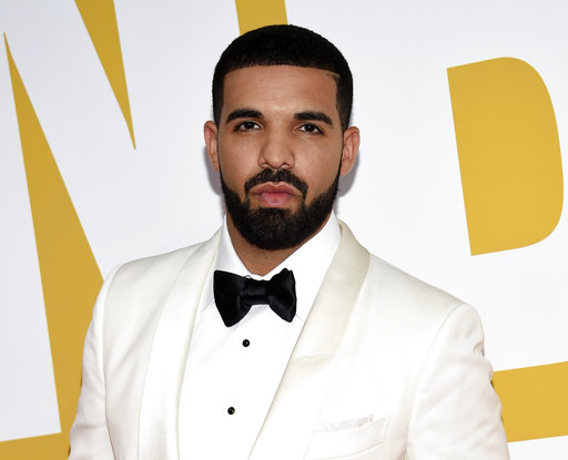 FILE - In this June 26, 2017 file photo, Canadian rapper Drake arrives at the NBA Awards in New York. Drake's song
