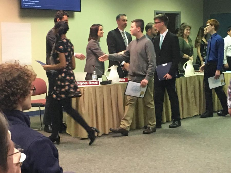 At+Thursday%27s+action+meeting%2C+the+Board+recognized+members+of+the+NPHS+Marching+Knights.