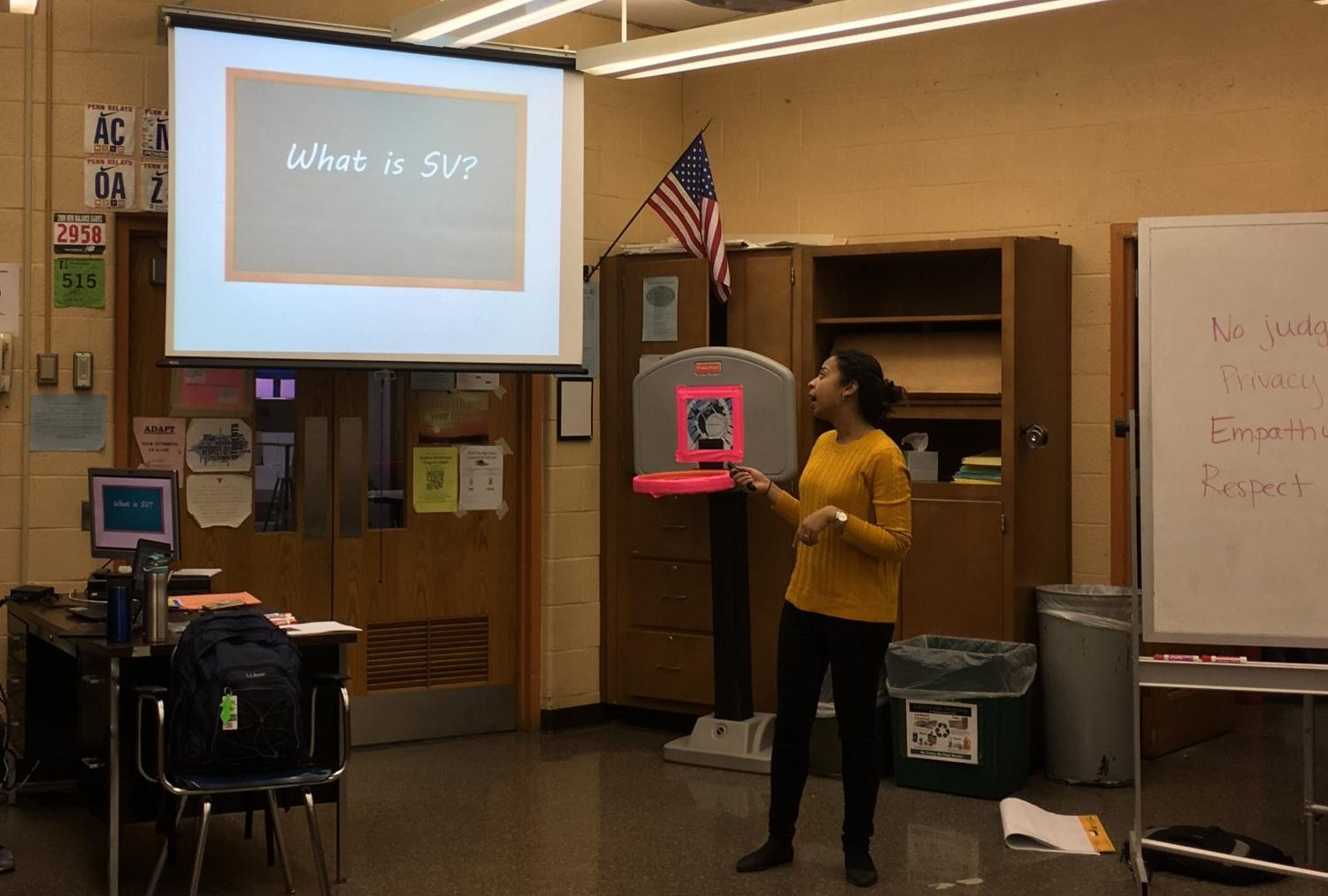 Jessica Rice giving her presentation to the Various Voices club.