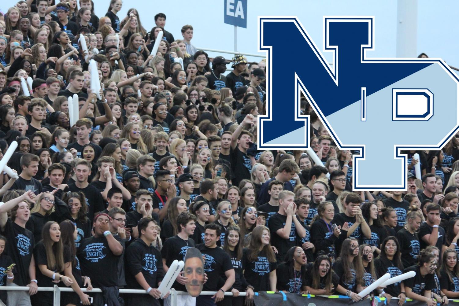 North Penn High School students fill the student section at the Homecoming football game.
