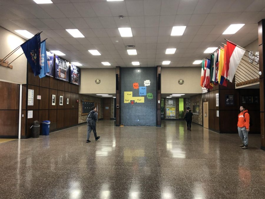 The original multi-colored tile mosaic in the NPHS lobby has been a feature since the building's opening in 1971.