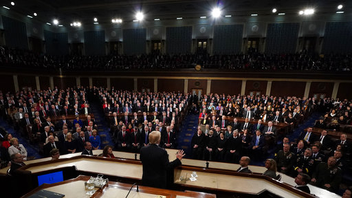 President Donald Trump deliver his State of the Union address to a joint session of U.S. Congress on Capitol Hill in Washington, Tuesday, Jan. 30, 2018. (Jim Bourg/Pool via AP)