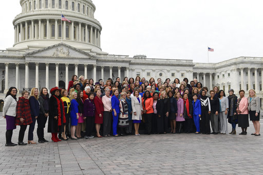The women of the 116th Congress pose for a group photo on Capitol Hill in Washington, Friday, Jan. 4, 2019. (AP Photo/Susan Walsh)