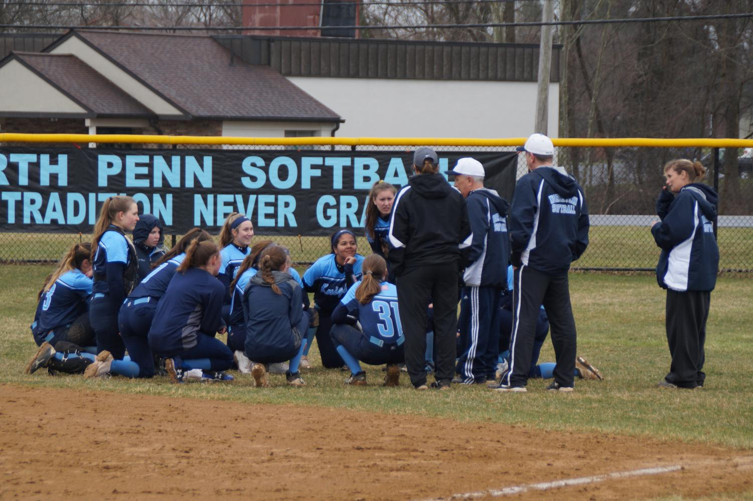 Coach Torresani talks to his team after an 11-0 win over Souderton.