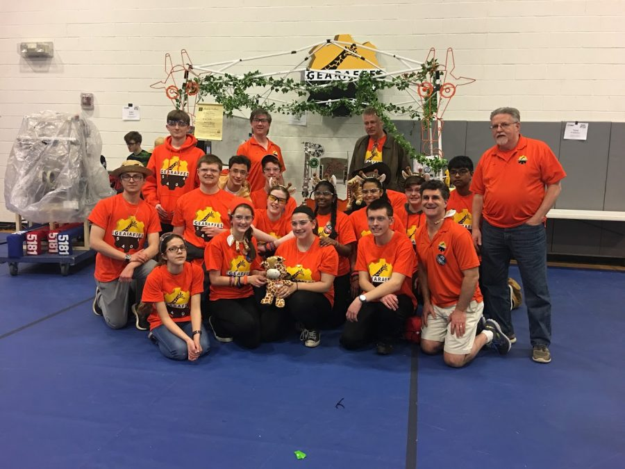 The+Gearaffes+pose+for+a+picture+after+their+win+at+the+First+Mid-Atlantic+District+competition.+The+Gearaffes+robotics+team+is+now+ranked+1st+out+of+128+teams+in+the+district.