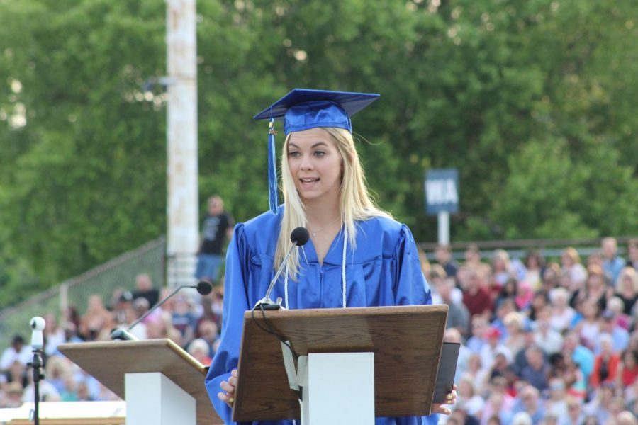 Class of 2018 selected speaker Mia Melchior delivers her speech at Commencement.