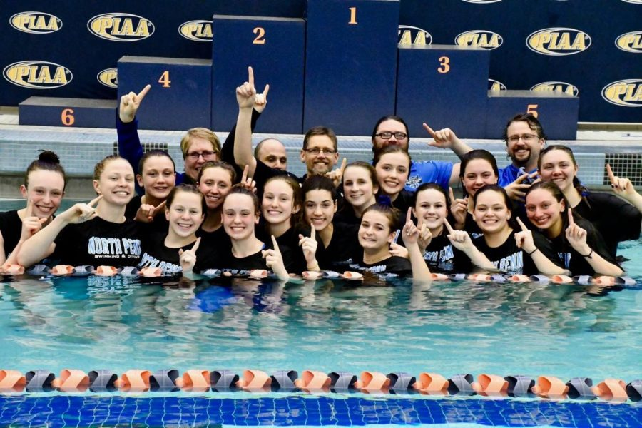 The girls' swimming and diving team that finished in 1st place at the state competition.