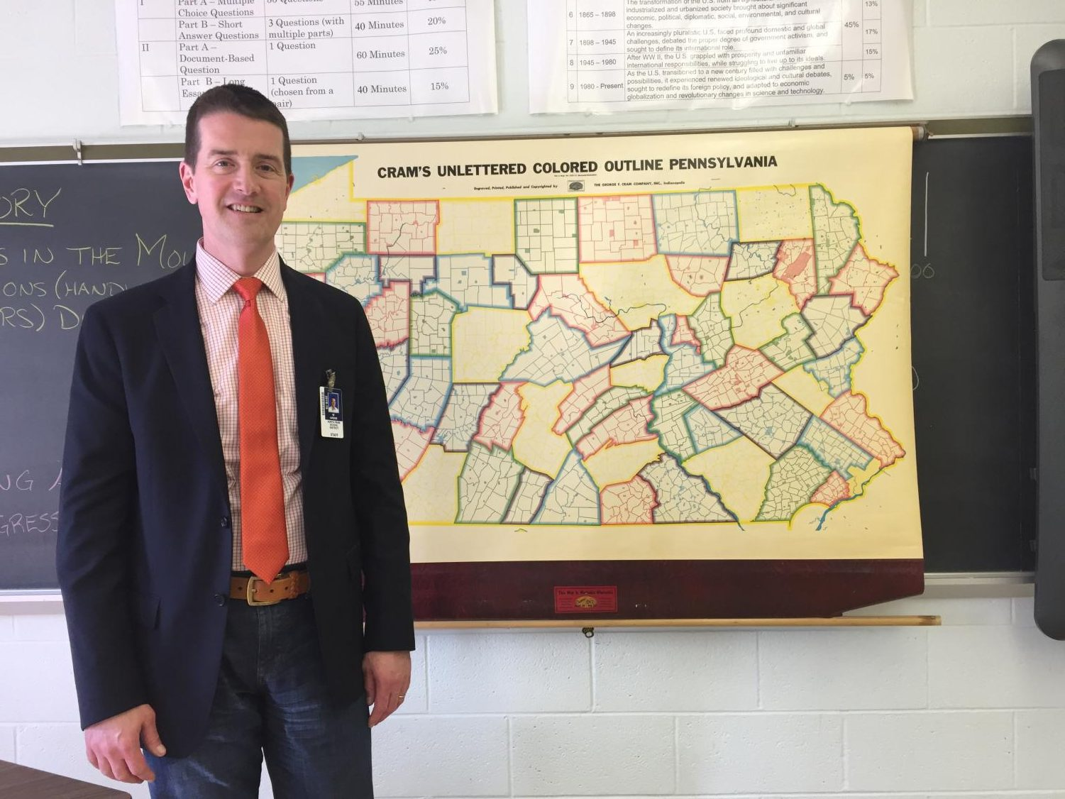 Could it be more fitting? Mr. Colin Likens pictured besides the map of Pennsylvania.