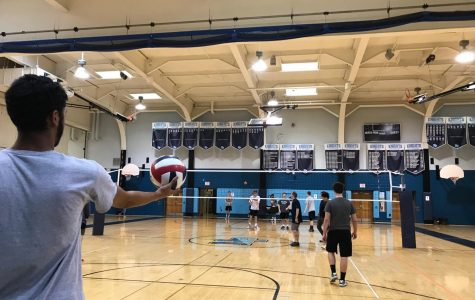 Practice for the boys' volleyball team as they prepare for their upcoming season.