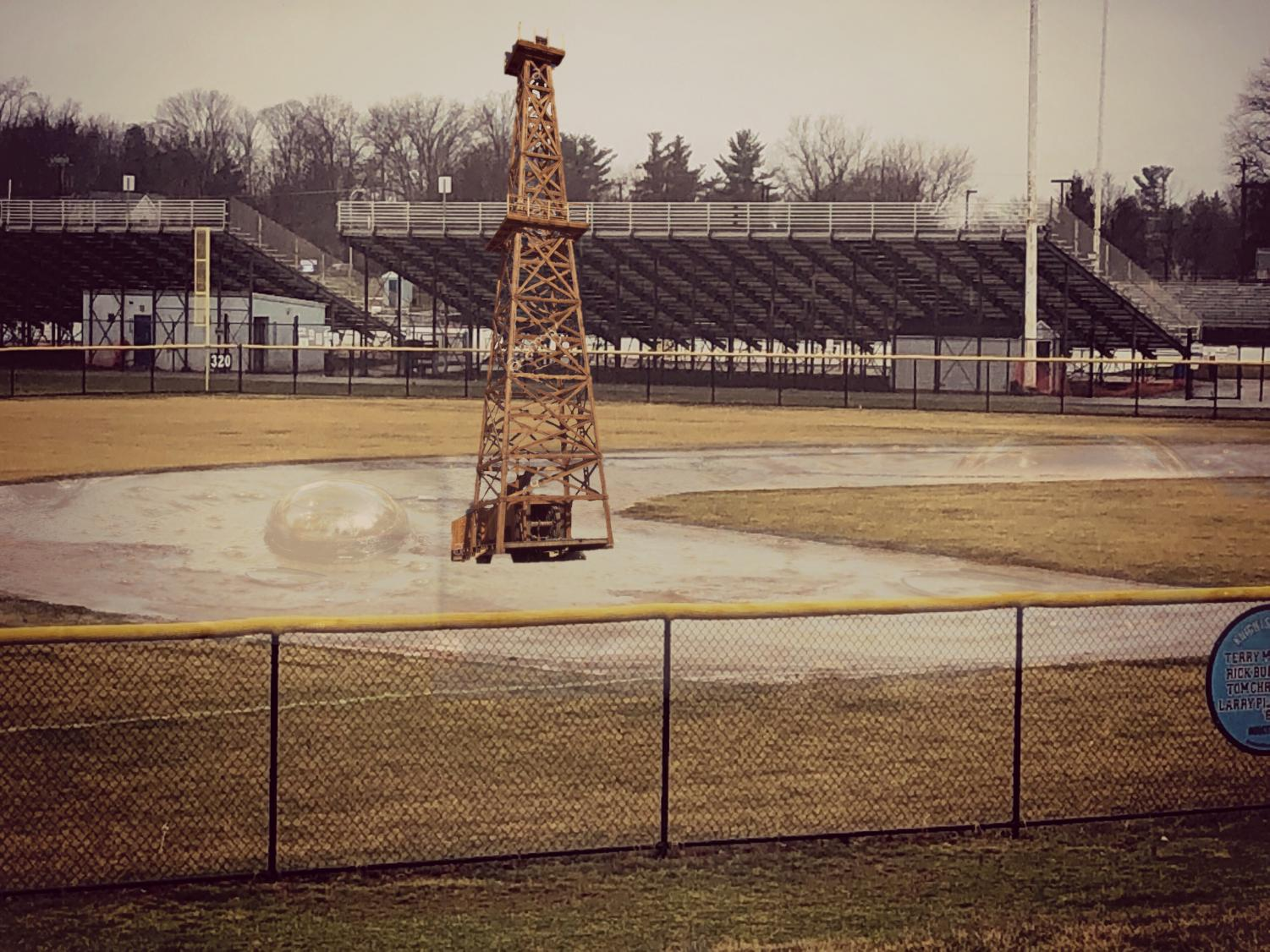 A new oil well has been placed on the NPHS baseball field where bubbling crude has come up from under the surface of the infield dirt