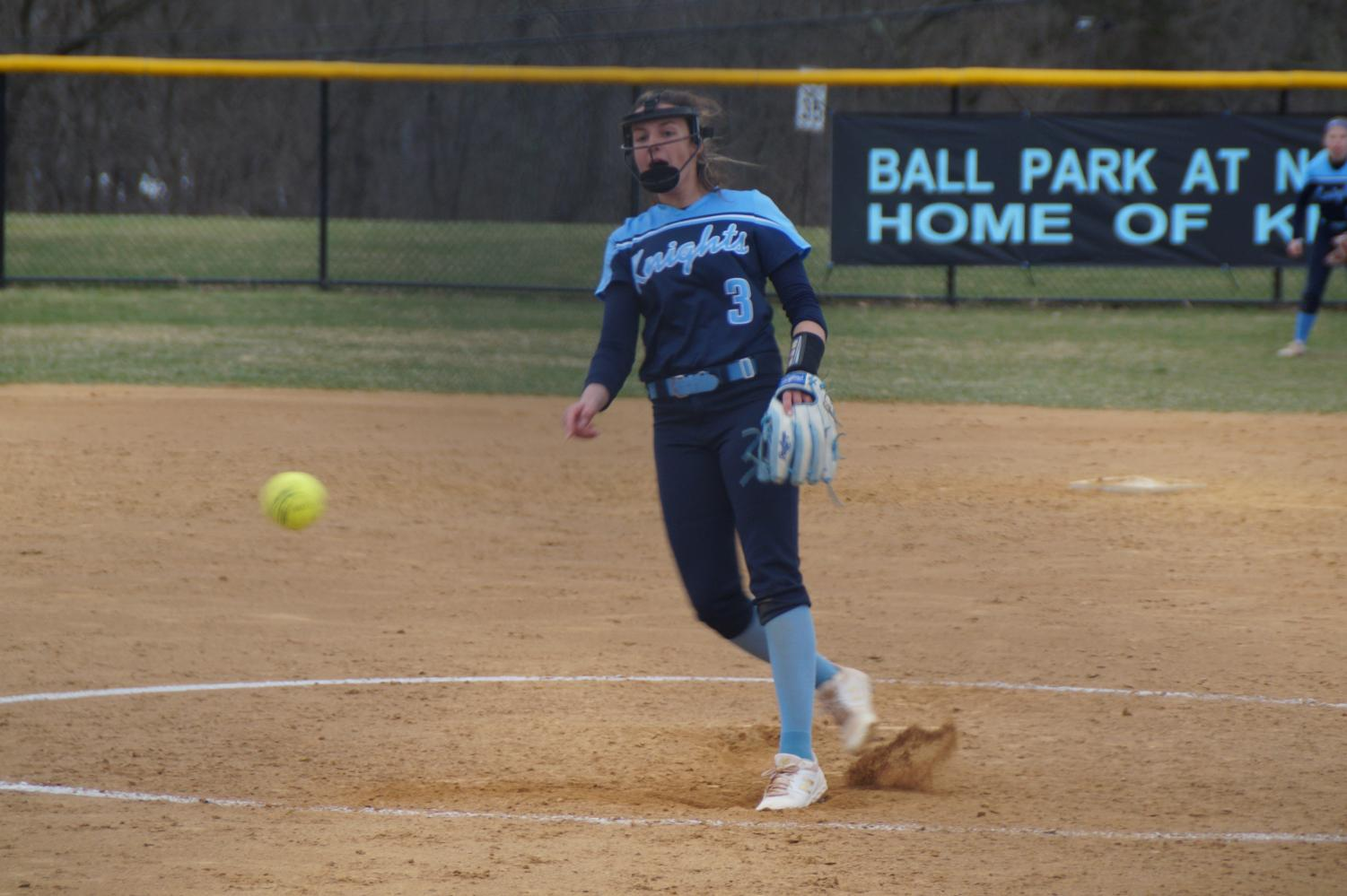 Sophomore Mady Volpe delivers a pitch in the top of the 7th.