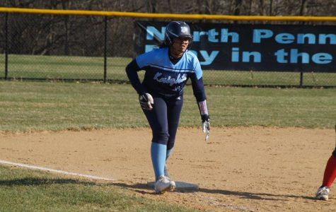 Senior 1B Elia Namey on 3rd base.  She finished 3-4 with a homerun and a triple  shy of the cycle to go along with 4 RBIs and 3 runs.
