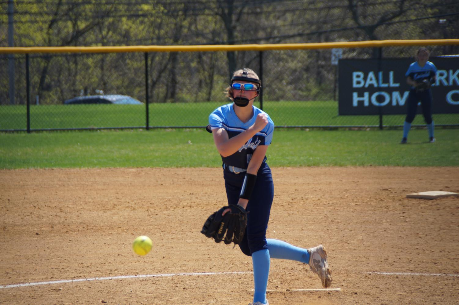 Rachel Lowry in the final inning of her complete game shutout.