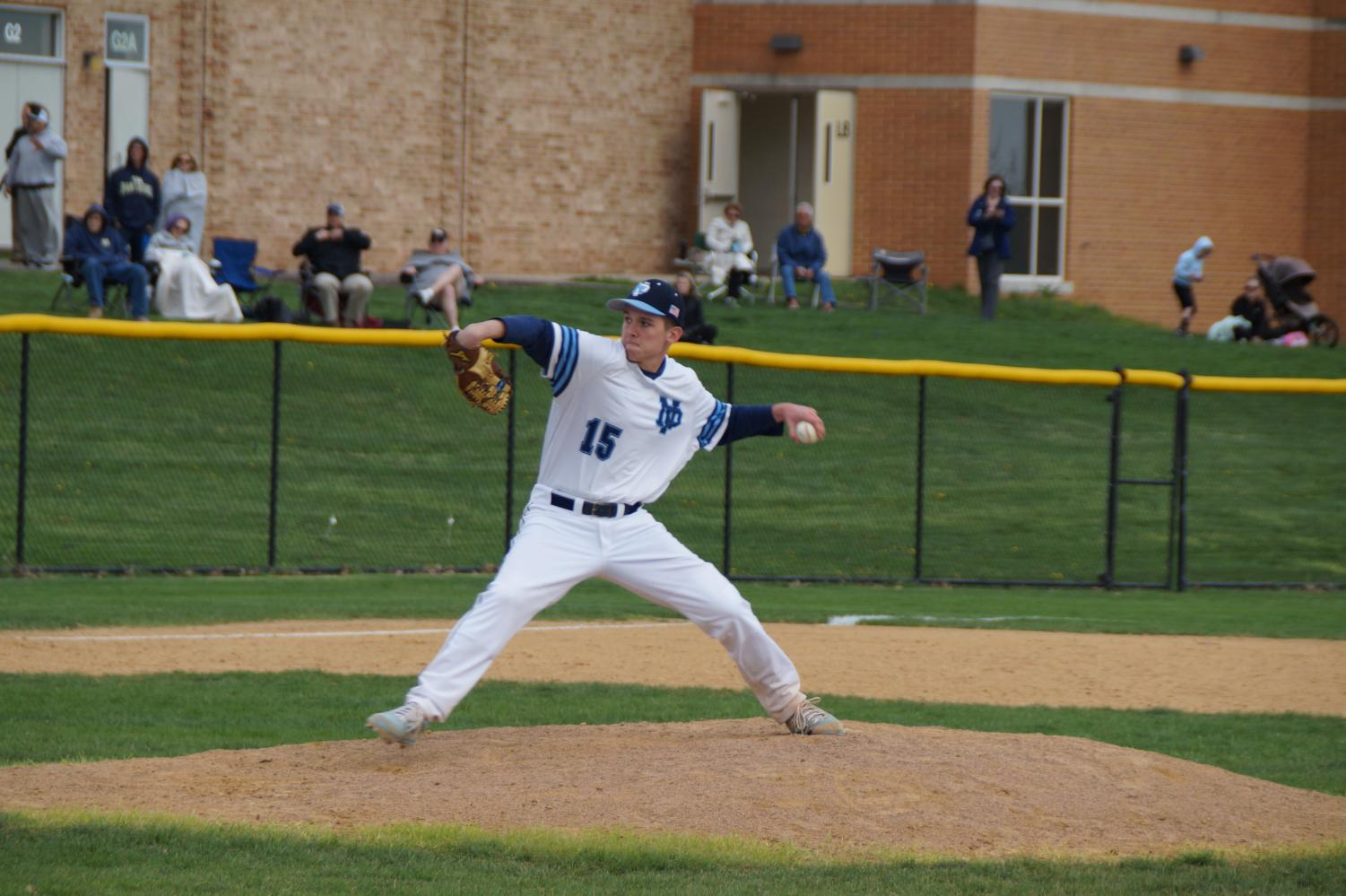 Joe Valenti on the mound for his complete game win.