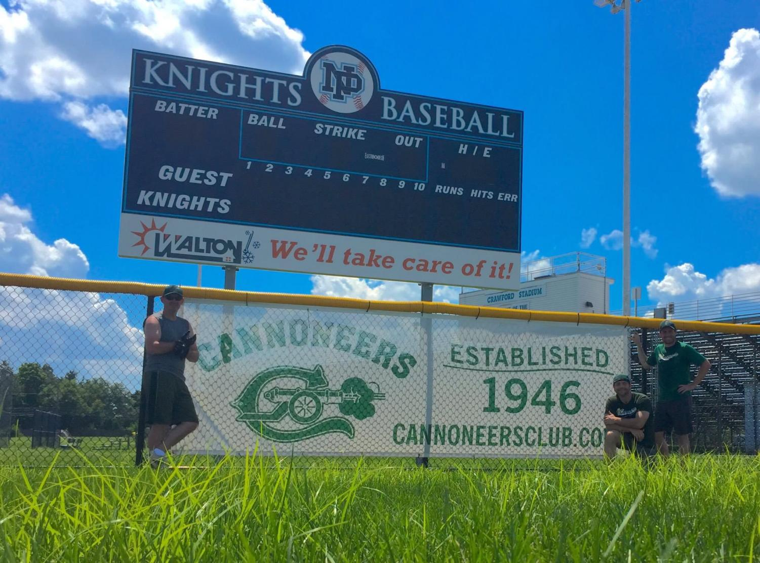 Banners hang around ball field fences and stadium sidelines for the club's sponsorships to North Penn athletic programs.