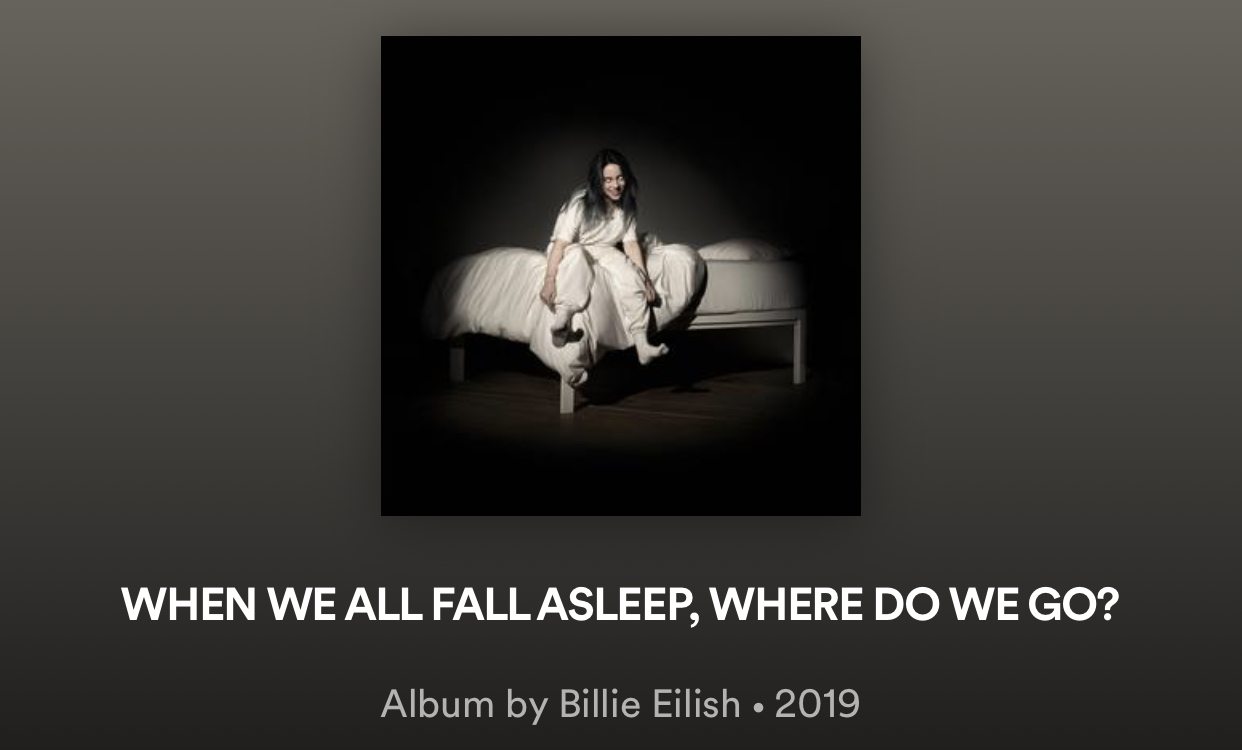 Eilish's new album is available on Spotify, among other streaming platforms.