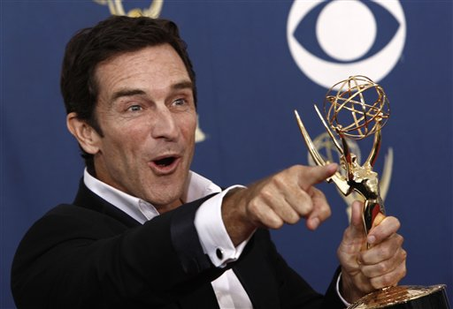 Jeff Probst poses with the award for best host for a reality or reality competition program for