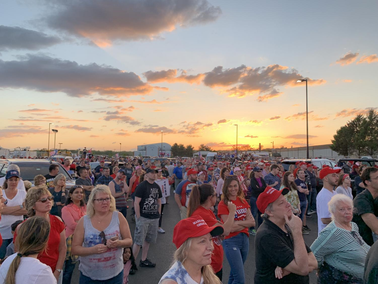 Thousands of Trump fans gather at the Williamsport Regional Airport to see him speak.