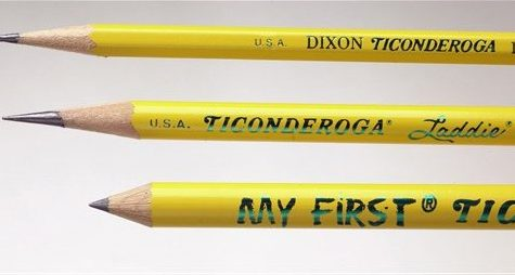 This Aug. 11, 2004 file photo shows the three standbys of the Ticonderoga line, from left, produced at the Dixon plant in Versailles, Mo., are the My First pencil for young beginning writers, the Laddie, an intermediate pencil for kids making the transition from printing to cursive writing and the traditional hexagonal-shaped Ticonderoga #2. Long home to an unchanging bunch of yellow No. 2 pencils and thick pink erasers, the pencil case has gotten a makeover. Thanks to the onslaught of kid-focused marketing and the growing presence of technology in children's lives, those perennial favorites have become so last semester. (AP Photo/Sedalia Democrat, Sydney Brink, FILE)