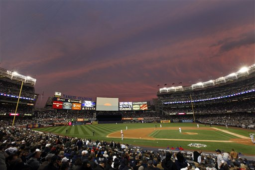 Yankee Stadium in the Bronx is shown during Game 5 of the American League Championship Series baseball game between the Texas Rangers and New York Yankees in New York, Thursday, Oct. 21, 2010. (AP Photo/Paul Sancya)