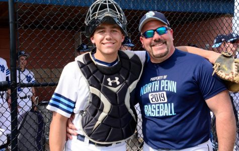 Joe (right) and Jake (left), father and son, pose for a picture at a North Penn baseball game.