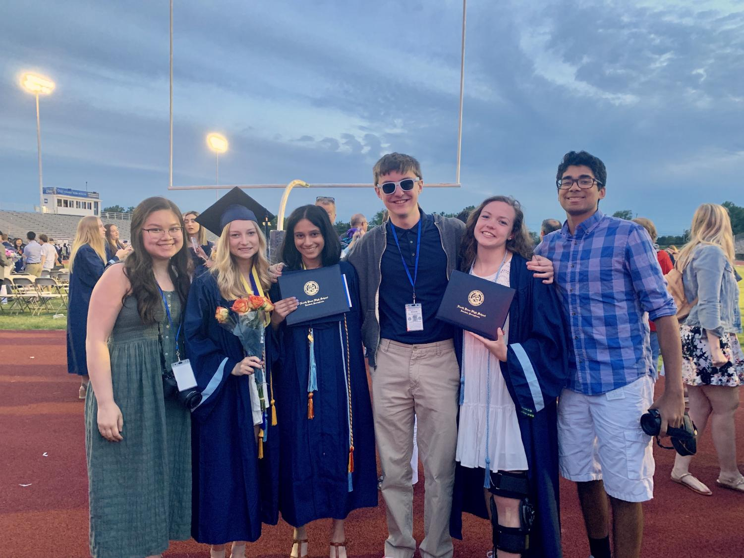 Some of the staff of The Knight Crier pause for a photo after the NPHS 2019 Commencement ceremony. Picture from L-R: Hannah Nguyen (Staff Writer Class of 2021); Allison Lacianca (Editor- Class of 2019); Sameera Rachakonda (Editor-In-Chief, Class of 2019); Connor Niszczak (Staff Writer Class of 2021); Marissa Werner (Editor, Class of 2019); and Prasham Jobanputra (Sports Editor- Class of 2020).